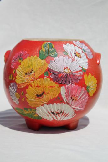 Vintage Ransburg Pottery Round Pot Cookie Jar Crock Red