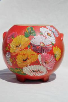 vintage Ransburg pottery round pot cookie jar crock, red orange hand painted flowers