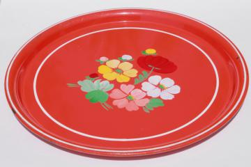 vintage Ransburg round metal serving tray w/ painted flowers on red-orange