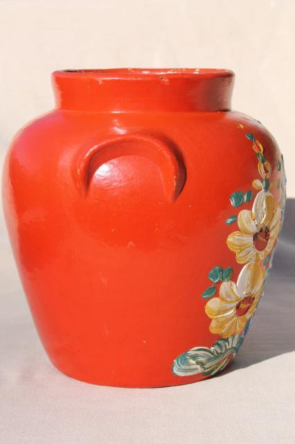 Vintage Ransburg Stoneware Pottery Cookie Jar Crock Hand
