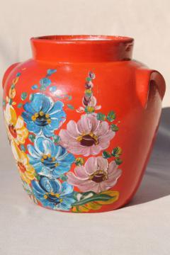 vintage Ransburg stoneware pottery cookie jar crock, hand painted hollyhocks flowers on orange