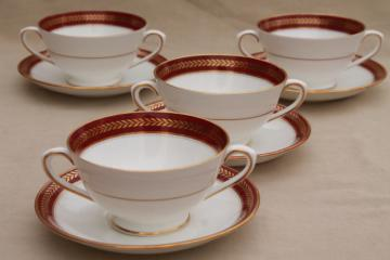 vintage Red Wheat Coalport bone china cream soup bowls or boullion cups w/ saucers