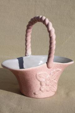 vintage Red Wing art pottery bride's basket vase, mid-century mod pink & grey