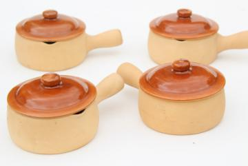 vintage Red Wing pottery Provincial Ware stick handle casserole or french onion soup bowls