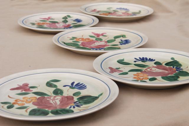 vintage Red Wing pottery dinnerware, Orleans floral hand painted dinner plates