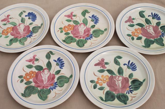 vintage Red Wing pottery dinnerware Orleans floral hand painted dinner plates & vintage Red Wing pottery dinnerware Orleans floral hand painted ...
