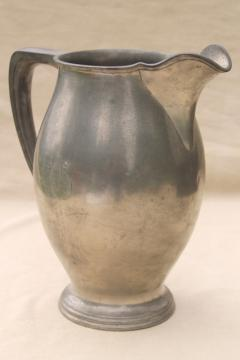 vintage Reed & Barton pewter pitcher w/ engraved monogram letter Old English G