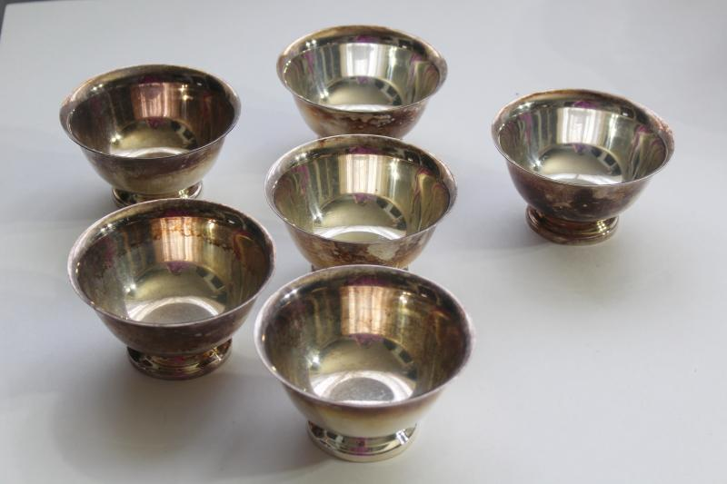 vintage Reed and Barton silverplate finger bowls, Revere reproduction antique silver