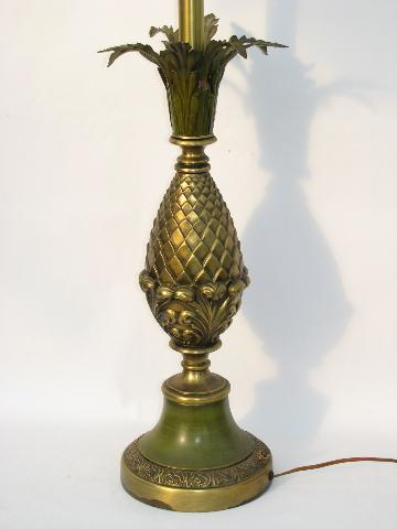 vintage Rembrandt brass pineapple lamp with glass diffuser