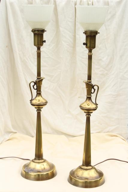 Vintage Rembrandt Lamp Pair Tall Table Lamps W Brass