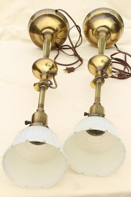vintage Rembrandt lamp pair, tall table lamps w/ brass urns, diffuser torchiere shades