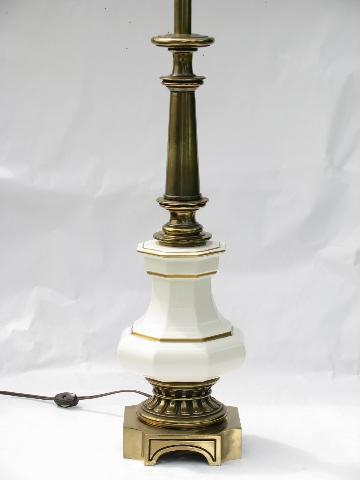 vintage Rembrandt table lamp, heavy solid brass w/ glossy white