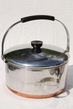 vintage Revere Ware copper clad bail handle pot, 4 quart kettle w/ lid