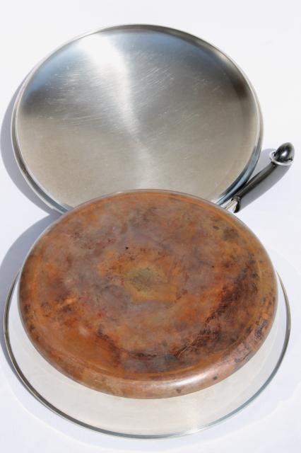 vintage Revere Ware copper clad bottom 12 inch skillet frying pan & lid