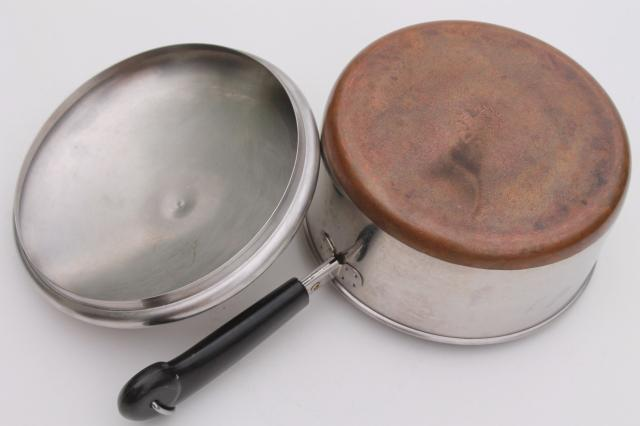 vintage Revere Ware copper clad bottom stainless 2 qt saucepan, 4 1/2 qt stock pot w/ lids