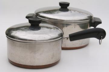 vintage Revere Ware copper clad bottom stainless 2 qt saucepan, 4 1/2 qt stock pot w/ lids