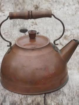 vintage Revere Ware copper tea kettle w/ wood handle