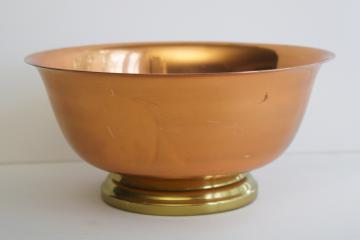 vintage Revere bowl, copper w/ brass footed shape centerpiece bowl