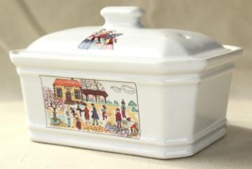 vintage Revol France small covered baking dish w/ French farmer's market scene
