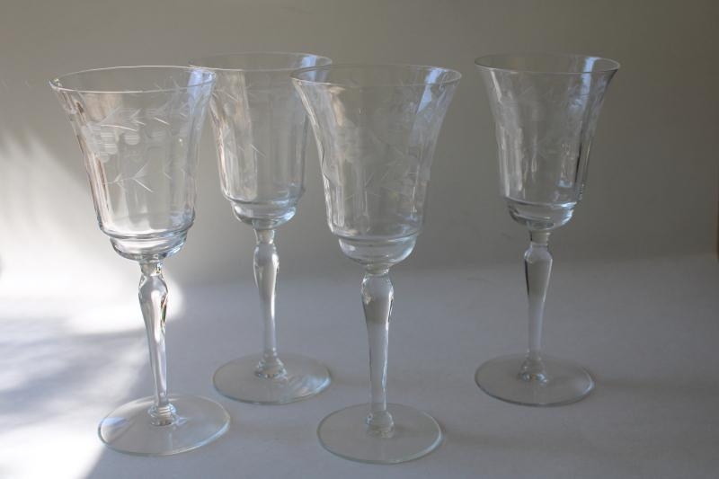 vintage Rock Sharpe Libbey etched glass stemware, panel optic water / wine glasses