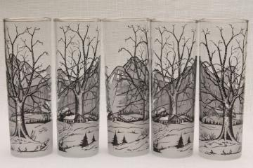 vintage Rocky Mountain highballs - tall bar glasses w/ cabin in the snow winter scene