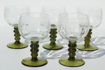 vintage Roemer Rhein wine glasses, green stem etched glass low goblets