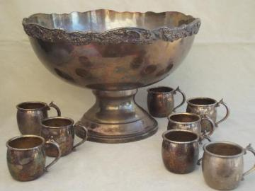 vintage Rogers silver punch set, silver plate punch bowl & 8 punch cups