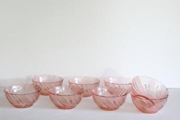 vintage Rosa pink Arcoroc textured swirl glass bowls, rose blush depression glass color