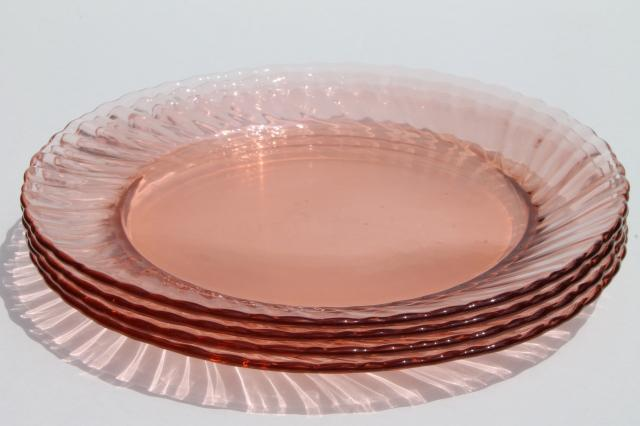 vintage Rosaline pink swirl glass plates set of 4, Arcoroc