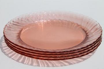 vintage Rosaline pink swirl glass plates set of 4, Arcoroc France depression glass
