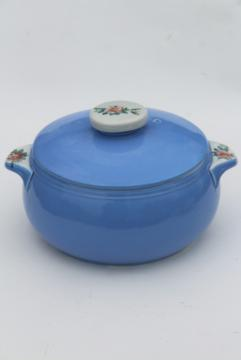 vintage Rose Parade Hall china casserole baking dish w/ lid, sky blue w/ wild roses