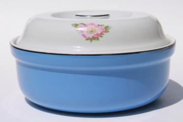 vintage Rose Parade covered mixing bowl casserole dish Hall China Superior Kitchenware
