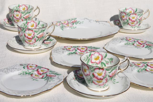 vintage Rose of England Hammersley bone china set dessert plates tea cups \u0026 saucers & vintage Rose of England Hammersley bone china set dessert plates ...