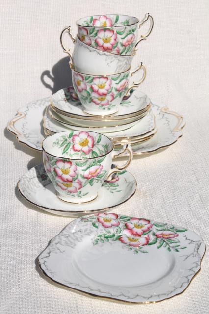 vintage Rose of England Hammersley bone china set dessert plates tea cups u0026 saucers & vintage Rose of England Hammersley bone china set dessert plates ...