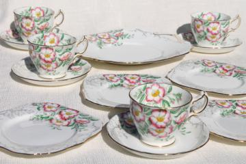 vintage Rose of England Hammersley bone china set dessert plates, tea cups & saucers