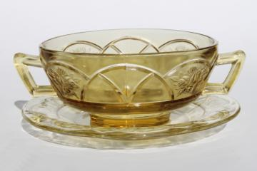 vintage Rosemary amber yellow glass cream soup bowl & saucer, Federal Dutch Rose depression glass