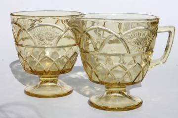 vintage Rosemary amber yellow glass cream & sugar set, Federal Dutch Rose depression glass