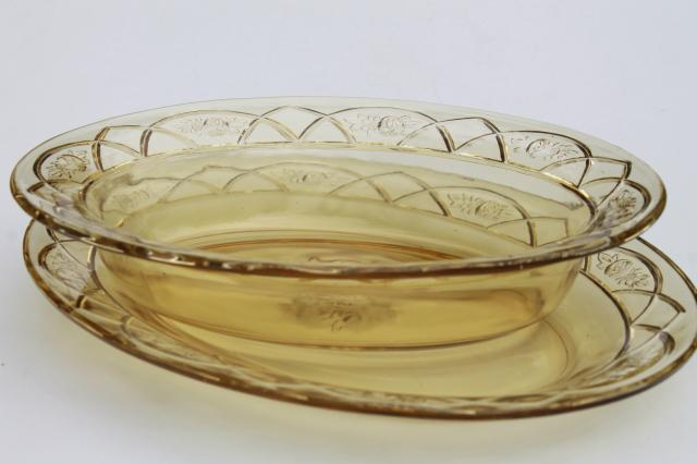 vintage Rosemary amber yellow glass platter & oval bowl