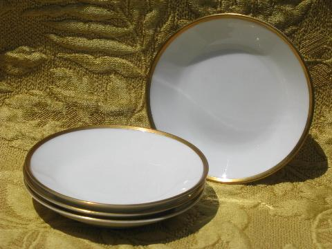vintage Rosenthal gold wedding band china, pure white sauce bowls set