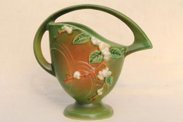 Vintage Roseville Pottery Snowberry Basket Handle Vase Shabby W