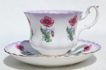 vintage Royal Albert bone china tea cup & saucer, pink poppy floral poppies #4469