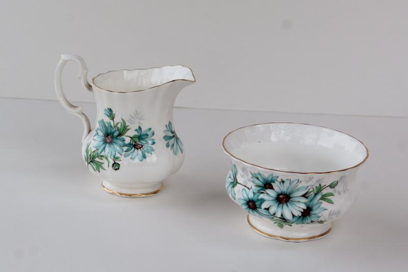 vintage Royal Albert china, Marguerite pattern mini cream pitcher & open sugar