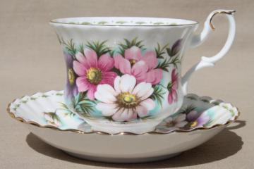 vintage Royal Albert china cup & saucer for October birthday, birth month flowers
