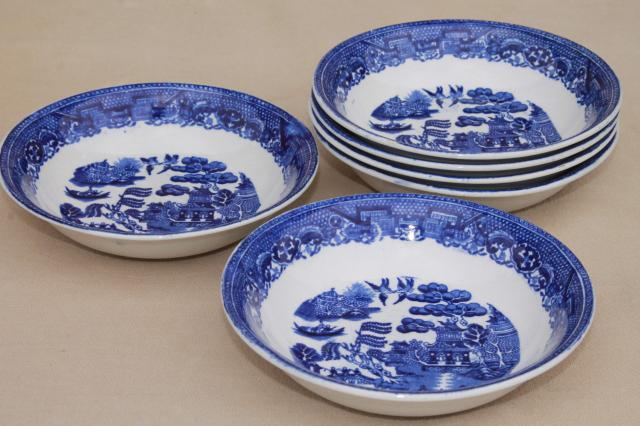 Vintage Royal Bett Blue Willow China Fruit Bowls Set Of