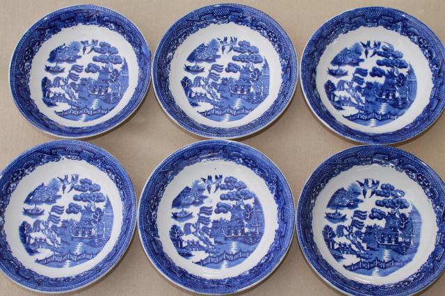 vintage Royal Bassett blue willow china fruit bowls set of 6 made in England & vintage Royal Bassett blue willow china fruit bowls set of 6 made ...