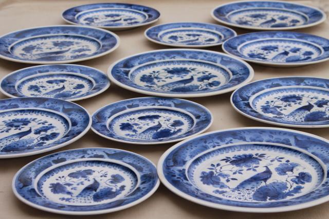 vintage Royal Copenhagen Aluminia faience pottery blue u0026 white peacock plates & vintage Royal Copenhagen Aluminia faience pottery blue u0026 white ...