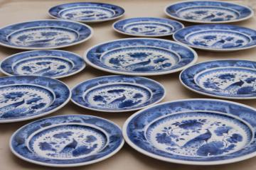 vintage Royal Copenhagen Aluminia faience pottery blue & white peacock plates