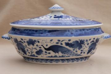 vintage Royal Copenhagen Aluminia faience pottery blue & white peacock tureen bowl w/ cover