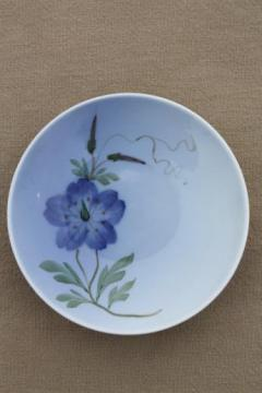 vintage Royal Copenhagen hand painted china miniature plate shaded blue bindweed flower