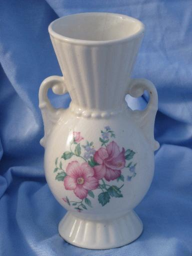 Vintage Royal Copley Shabby Roses China Ivory Ewer Pitcher And Urn Vase